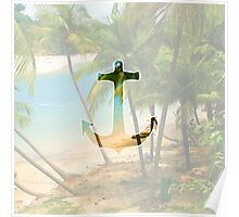 Cool Summery Anchor and Tropical Beach Scene Poster