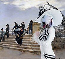 Bedlington Terrier  Art - Windy Day on the Pont des Arts in Paris by NobilityDogs