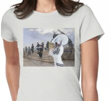 Bedlington Terrier  Art - Windy Day on the Pont des Arts in Paris Womens Fitted T-Shirt