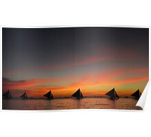 Sunset Line of Sailboats Poster