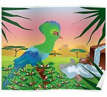 Turaco (Knysna) and African landscape Poster