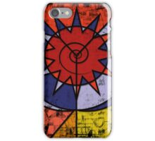 Digital Graffiti of Tribal Symbol in Red, Blue and Yellow iPhone Case/Skin