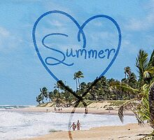 """Painted """"Summer"""" Heart Typography Beach Scene  by Blkstrawberry"""
