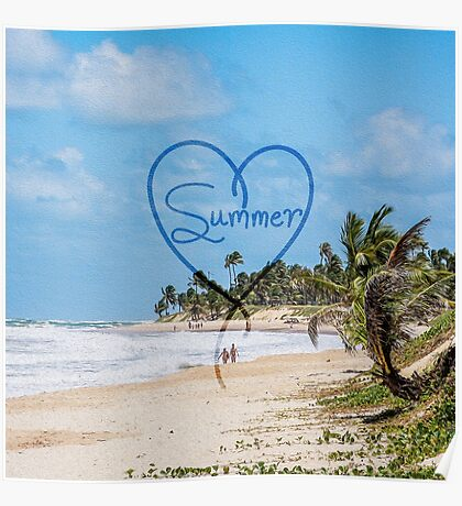 """Painted """"Summer"""" Heart Typography Beach Scene  Poster"""