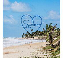 "Painted ""Summer"" Heart Typography Beach Scene  Photographic Print"