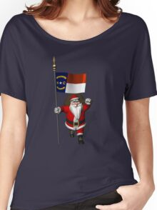 Santa Claus With Flag Of North Carolina Women's Relaxed Fit T-Shirt