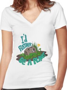 I'd rather be a plant Women's Fitted V-Neck T-Shirt