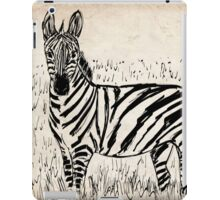 Cool Zebra Scribble on Old Paper iPad Case/Skin