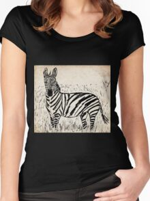 Cool Zebra Scribble on Old Paper Women's Fitted Scoop T-Shirt
