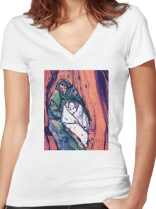 Marbled Madonna and Child Women's Fitted V-Neck T-Shirt