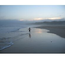 Boy running on the beach Photographic Print