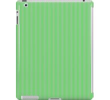 Green and White Vertical Micro Pin Stripes iPad Case/Skin