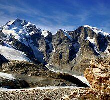 Piz Bernina with famous Biancograt by Derivatix