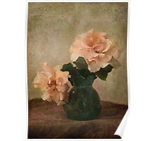 two apricot roses in a green jug Poster