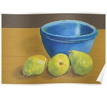 Pears on Desk with Bowl Poster