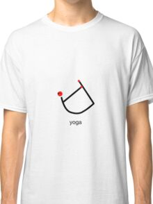 Stick figure of bow yoga pose with yoga text. Classic T-Shirt