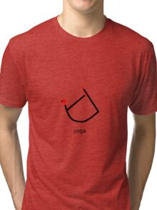 Stick figure of bow yoga pose with yoga text. Tri-blend T-Shirt