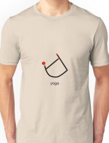 Stick figure of bow yoga pose with yoga text. Unisex T-Shirt