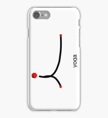 Stick figure of cobra yoga pose with yoga text. iPhone Case/Skin