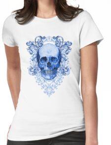Blue Ornate Skull Womens Fitted T-Shirt