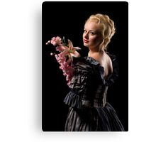 Beautiful girl with flowers Canvas Print