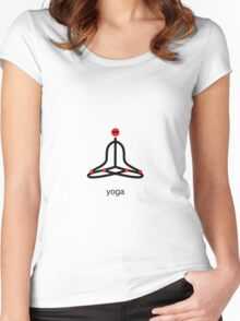 Stick figure of lotus yoga pose with yoga text. Women's Fitted Scoop T-Shirt