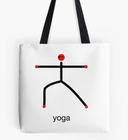 Stick figure of warrior 2 pose with yoga text. Tote Bag
