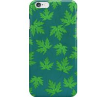 Silver Maple Leaves in Green  iPhone Case/Skin