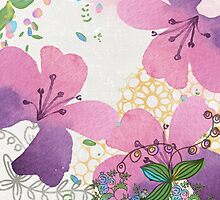 Bees and Blooms IV: Watercolor illustrated honeybee & flower print by LSWalthery