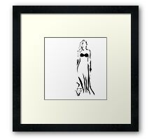 Young beauty woman and her cat Framed Print
