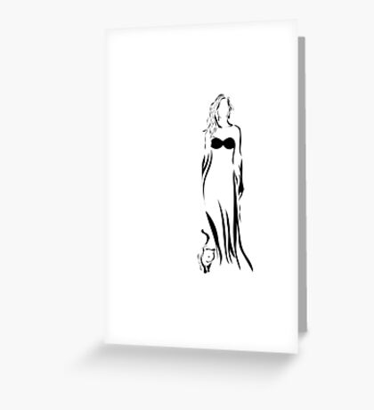 Young beauty woman and her cat Greeting Card