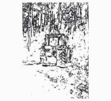 drawing tractor and nature One Piece - Short Sleeve