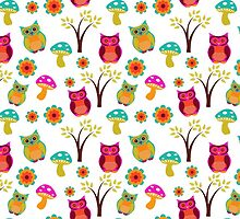 Cute colorful vintage owls floral pattern by Maria Fernandes