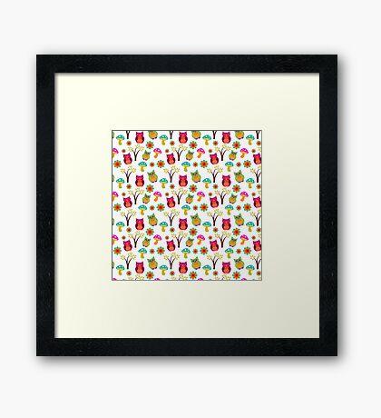 Cute colorful vintage owls floral pattern Framed Print