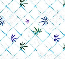 Colorful Marijuana Leaves, Grid and Scratches by NataliSven