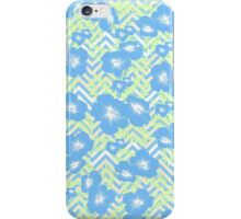 Vintage blue white green yellow chevron floral  iPhone Case/Skin