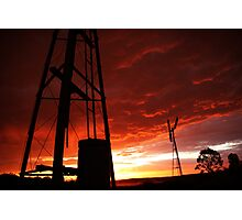 Windmill Sunset Photographic Print