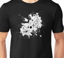 Shadowbolt skull wing splat (no text, white splats) Unisex T-Shirt