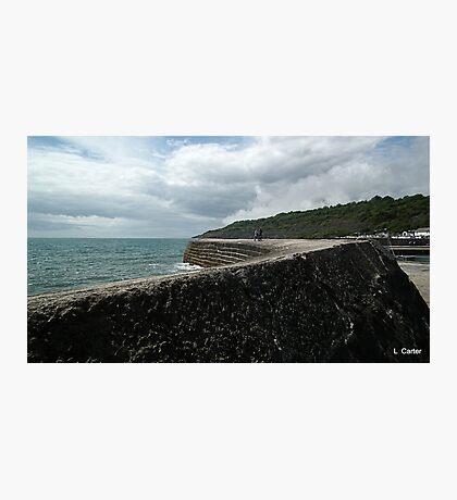 Walk Along The Harbour Wall, Dorset UK Photographic Print