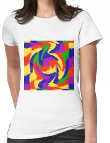 Primary Color Abstract Womens Fitted T-Shirt