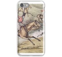 Old Hunting Scene - Jumping Through the English Countryside iPhone Case/Skin