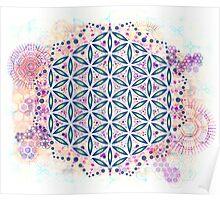 Life's Hexagonal Flower Poster
