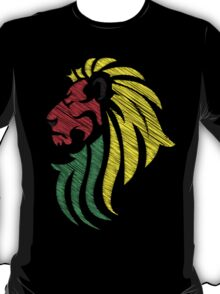 Lion Reggae Colors Cool Flag Vector Art  T-Shirt