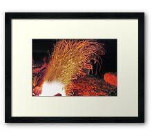 Kickin The Fire Framed Print