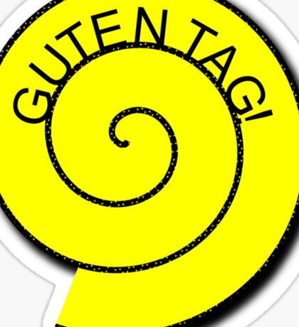 """Buttons """"Guten Tag"""" rot, gelb unt schwarz Sticker"""