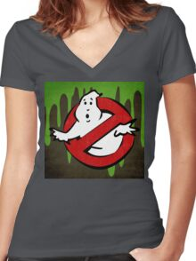 """I ain't afraid of no ghost"" Ghostbusters Stay Puft Mashmallow Man Green Slime Slimer Women's Fitted V-Neck T-Shirt"