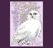 White Snow Owl Purple Wisteria Unisex T-Shirt