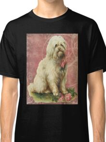Victorian White Sheep Dog Pink Flowers Classic T-Shirt