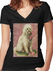 Victorian White Sheep Dog Pink Flowers Women's Fitted V-Neck T-Shirt
