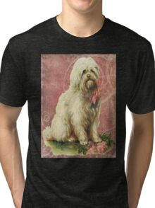 Victorian White Sheep Dog Pink Flowers Tri-blend T-Shirt